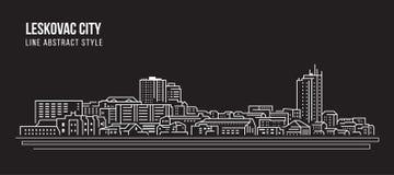 Pejzażu miejskiego budynku Kreskowej sztuki Wektorowy Ilustracyjny projekt - Leskovac miasto Fotografia Royalty Free