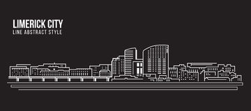 Pejzażu miejskiego budynku Kreskowej sztuki Wektorowy Ilustracyjny projekt - limeryka miasto Zdjęcia Stock