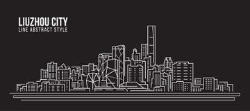 Pejzażu miejskiego budynku Kreskowej sztuki Wektorowy Ilustracyjny projekt - Liuzhou miasto Zdjęcie Royalty Free