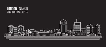 Pejzażu miejskiego budynku Kreskowej sztuki Wektorowy Ilustracyjny projekt - London miasto, Ontario Canada Zdjęcia Stock