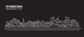 Pejzażu miejskiego budynku Kreskowej sztuki Wektorowy Ilustracyjny projekt - Pietermaritzburg miasto Obrazy Stock