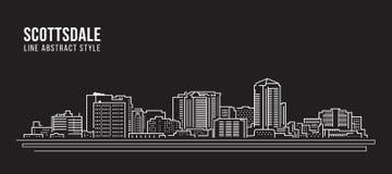 Pejzażu miejskiego budynku Kreskowej sztuki Wektorowy Ilustracyjny projekt - Scottsdale miasto Fotografia Stock