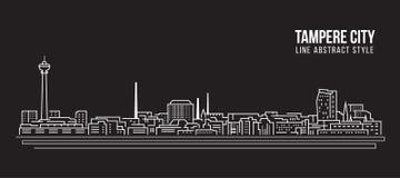 Pejzażu miejskiego budynku Kreskowej sztuki Wektorowy Ilustracyjny projekt - Tampere miasto ilustracji