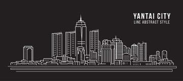 Pejzażu miejskiego budynku Kreskowej sztuki Wektorowy Ilustracyjny projekt - Yantai miasto Zdjęcie Royalty Free