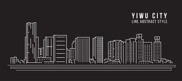Pejzażu miejskiego budynku Kreskowej sztuki Wektorowy Ilustracyjny projekt - Yiwu miasto Obraz Stock