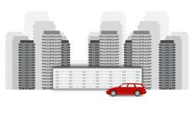 Pejzażu miejskiego wektorowy czerwony samochód royalty ilustracja