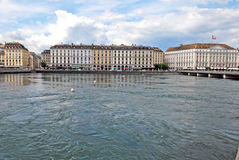 Pejzażu miejskiego widok Jeziorny Genewa, Szwajcaria Zdjęcia Royalty Free