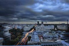 Pejzażu miejskiego wizerunek Madryt, Hiszpania podczas zmierzchu Zdjęcia Stock