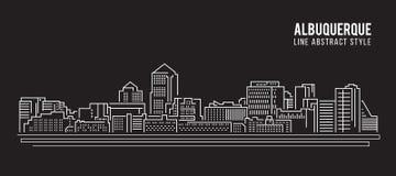 Pejzażu miejskiego budynku Kreskowej sztuki Wektorowy Ilustracyjny projekt - Albuquerque miasto Zdjęcia Stock