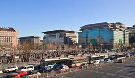Pekín, China Área del anuncio publicitario de Xidan Imágenes de archivo libres de regalías