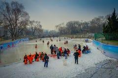PEKÍN, CHINA - 29 DE ENERO DE 2017: La gente que asiste a los Años Nuevos justos en Longtan parquea, jugando en el canal de agua  Imágenes de archivo libres de regalías