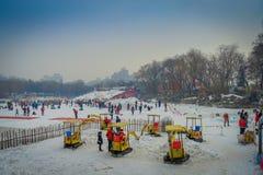 PEKÍN, CHINA - 29 DE ENERO DE 2017: La gente que asiste a los Años Nuevos justos en Longtan parquea, jugando en el canal de agua  Imagen de archivo