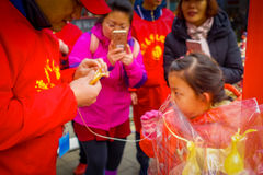 PEKÍN, CHINA - 29 DE ENERO DE 2017: La gente que asiste a los Años Nuevos justos en Longtan parquea, mercado del chino tradiciona Imagen de archivo libre de regalías