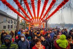PEKÍN, CHINA - 29 DE ENERO DE 2017: Las largas colas de la gente que asiste a los Años Nuevos justos en Longtan parquean, tradici Foto de archivo libre de regalías