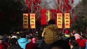 Pekín, China 2 de febrero de 2014: Gente que sostiene los juguetes en el parque de Ditan durante festival de primavera chino en P almacen de metraje de vídeo