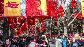 Pekín, China 2 de febrero de 2014: Los millares de gente visitan la feria del templo en el parque de Ditan durante festival de pr almacen de metraje de vídeo