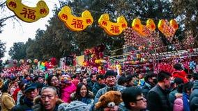 Pekín, China 6 de febrero de 2014: Porciones de visitantes que sostienen los juguetes en el templo de Ditan justos durante festiv almacen de metraje de vídeo