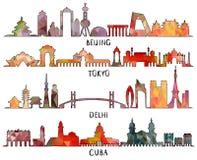 Pekín, Tokio, Nueva Deli, Cuba, diseño triangular ilustración del vector