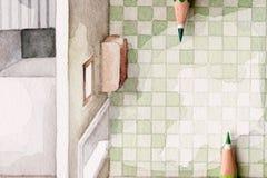Peka blyertspennor på vattenfärgbadet som belägger med tegel illustrationen Royaltyfri Illustrationer