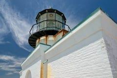 Peka Bonita Lighthouse utanför San Francisco, Kalifornien ställningar på slutet av en härlig upphängningbro Arkivbilder
