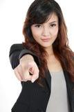 peka den nätt kvinnan dig som är ung royaltyfri fotografi