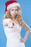 peka den santa kvinnan dig som är ung Fotografering för Bildbyråer