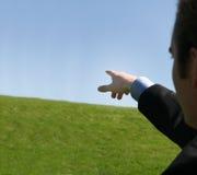 peka för affärsman Fotografering för Bildbyråer
