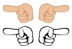 peka för händer Arkivbild