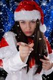 Peka för julflicka Royaltyfria Bilder