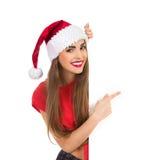 Peka för julflicka fotografering för bildbyråer