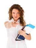 Peka för kvinna som isoleras på vitbakgrund Arkivfoto