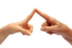 peka för fingerhänder Arkivbilder