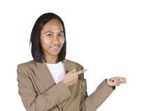 peka för affärskvinna Arkivbilder