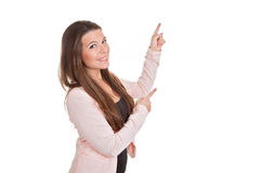 Peka för för affärskvinna eller lärare Royaltyfri Foto