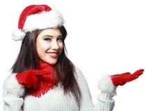 Peka för jultomtenkvinna Royaltyfria Bilder
