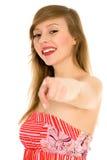 peka kvinnan dig Fotografering för Bildbyråer