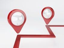 pekare för översikt 3d lopp- och navigeringbegrepp Royaltyfria Bilder