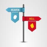 Pekare på en vägvisarehimmel eller helvete vektor royaltyfri illustrationer