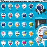 Pekareflagga för Antarktis Ryssland Amerika territorier Fotografering för Bildbyråer
