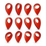 pekarevektor för översikt 3d Symbol Isolated On för fastställd röd navigatör vit bakgrund med mjuk skugga GPS lägesymbol, navigat Royaltyfria Foton