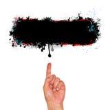 Pekfinger som indikerar svart stekflottkopieringsutrymme Fotografering för Bildbyråer