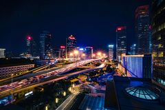 Pekin CBD nocy widok Obrazy Royalty Free