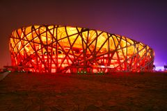 Pekin, Chiny 09/06/2018 Krajowych Pekin ptaków Gniazdowy stadium pięknie iluminujący przy nocą zdjęcie stock