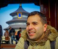 PEKIN, CHINY - 29 STYCZEŃ, 2017: Świątynia niebo, cesarski kompleks z spektakularnymi religijnymi budynkami lokalizować przy Fotografia Royalty Free