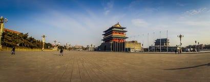 PEKIN, CHINY - 29 STYCZEŃ, 2017: Świątynny budynek obok Mao pamiątkowej sala, lokalizować na Tianmen kwadracie Zdjęcie Stock