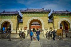 PEKIN, CHINY - 29 STYCZEŃ, 2017: Chodzący wokoło świątyni niebiański compund, cesarski kompleks z różnorodny religijnym Zdjęcia Royalty Free