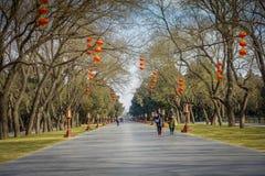 PEKIN, CHINY - 29 STYCZEŃ, 2017: Chodzący wokoło świątyni niebiański compund ogród, cesarski kompleks z różnorodnym Fotografia Royalty Free