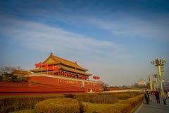 PEKIN, CHINY - 29 STYCZEŃ, 2017: Piękny świątynny inside zakazujący budynku miasto, typowa antyczna Chińska architektura Zdjęcie Stock