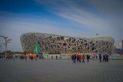 PEKIN, CHINY - 29 STYCZEŃ, 2017: Spektakularny gniazdowy stadium lokalizować ptaka inside nowożytny olimpijski centrum sportowe,  Obraz Royalty Free