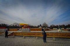 PEKIN, CHINY - 29 STYCZEŃ, 2017: Uczęszczać nowego roku świętowania festiwal w świątyni ziemia park, udziały czerwień Obrazy Stock